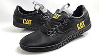 Мужские  кожаные Кроссовки мужские кеды CAT чёрные, п-р ПОЛЬША