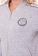 Женский спортивный костюм без капюшона, светло-серый бомбер размер 52-58, фото 3