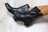 Демисезонные кожаные ботинки цвет : черный