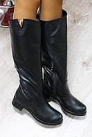 Демисезонные натуральные кожаные сапоги цвет : черный