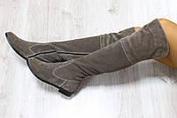 Демисезонные натуральные замшевые сапоги-ботфорты цвет : коричневый