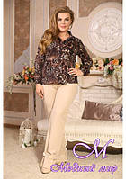 Женская леопардовая блуза большого размера (р. 48-90) арт. Леопард