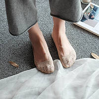 Кружевные тапочки-носочки бежевые