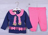"""Костюмчик детский """"Бантики"""". 6-12-18 месяцев. Розовый+синий. Оптом."""