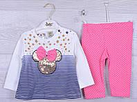 """Костюмчик детский """"Miki"""". 6-12-18 месяцев .Бело-синий+розовый. Оптом."""