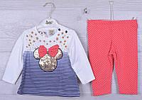"""Костюмчик детский """"Miki"""". 6-12-18 месяцев .Бело-синий+персиковый. Оптом."""
