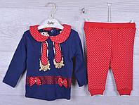 """Костюмчик детский """"Бантики"""". 6-12-18 месяцев. Красный+синий. Оптом."""