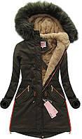 Парка женская хлопковая с большой опушкой  и меховым утеплителем