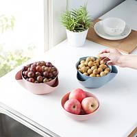 Двойная миска для семечек,орехов розовая