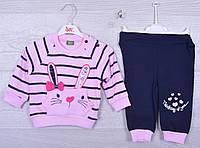"""Костюмчик детский """"Зайчик"""". 6-12-18 месяцев. Розовый+темно-синий. Оптом."""