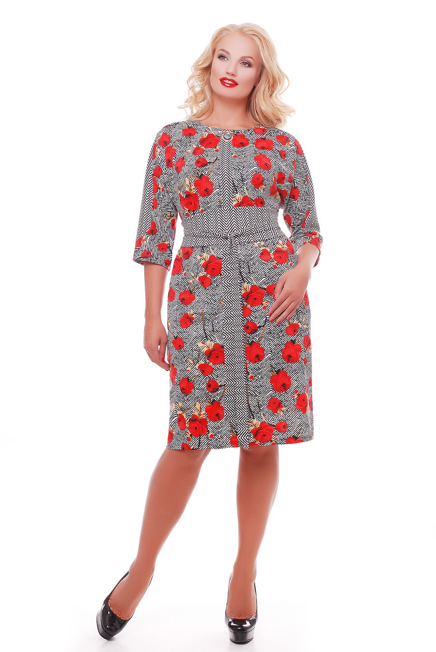 Женское красивое платье Кэтлин, цвет маки размер 52 / большие размеры