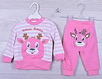 """Костюмчик детский с мордочкой """"Million Babies"""". 6-9-12 месяцев. Розовый. Оптом."""