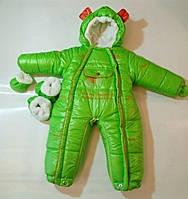 """Комбинезон-трансформер 4 в 1 со съемным мехом """"Angel Baby"""" 0-18 мес. Зеленый"""