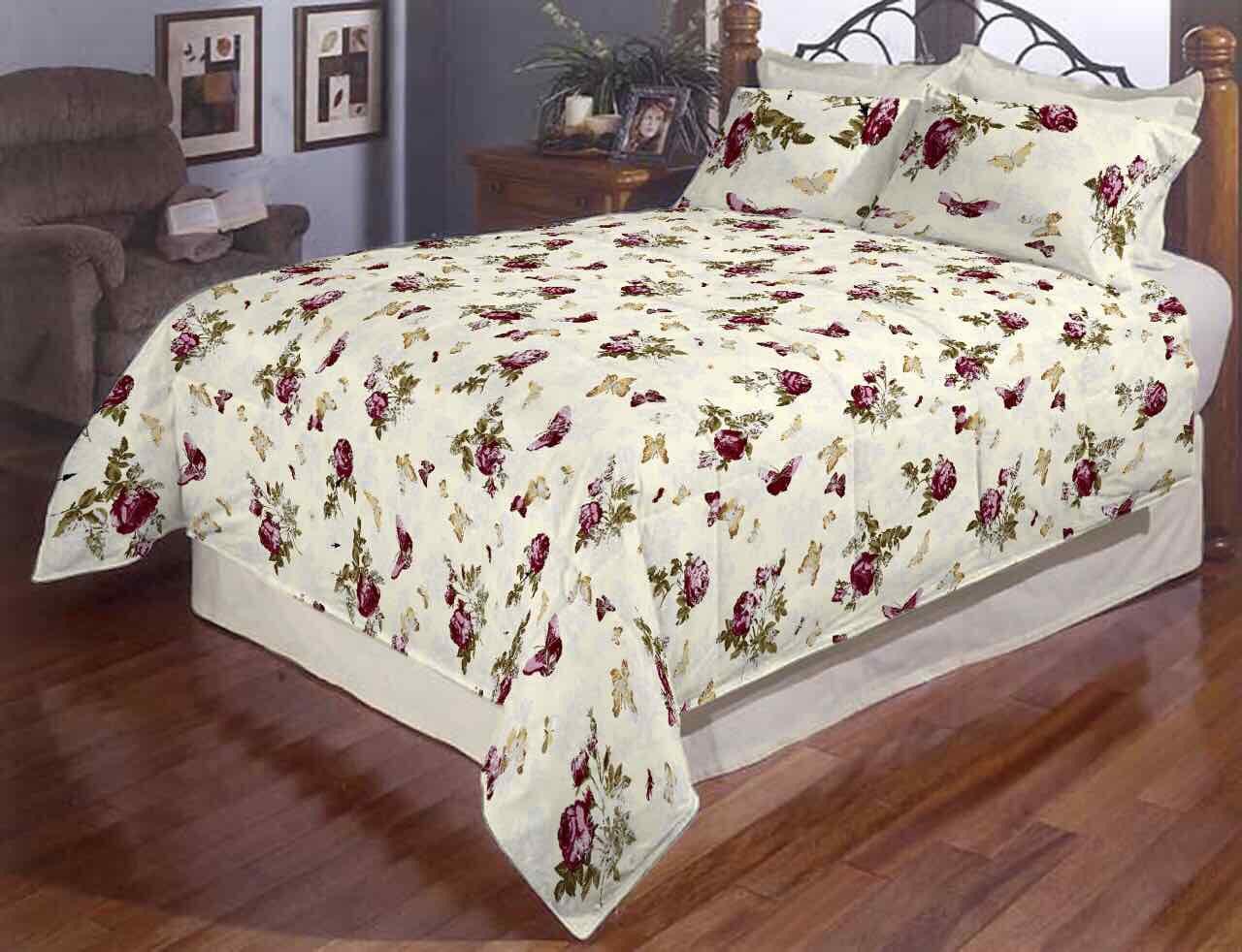 Розы и бабочки полуторное постельное белье Gold