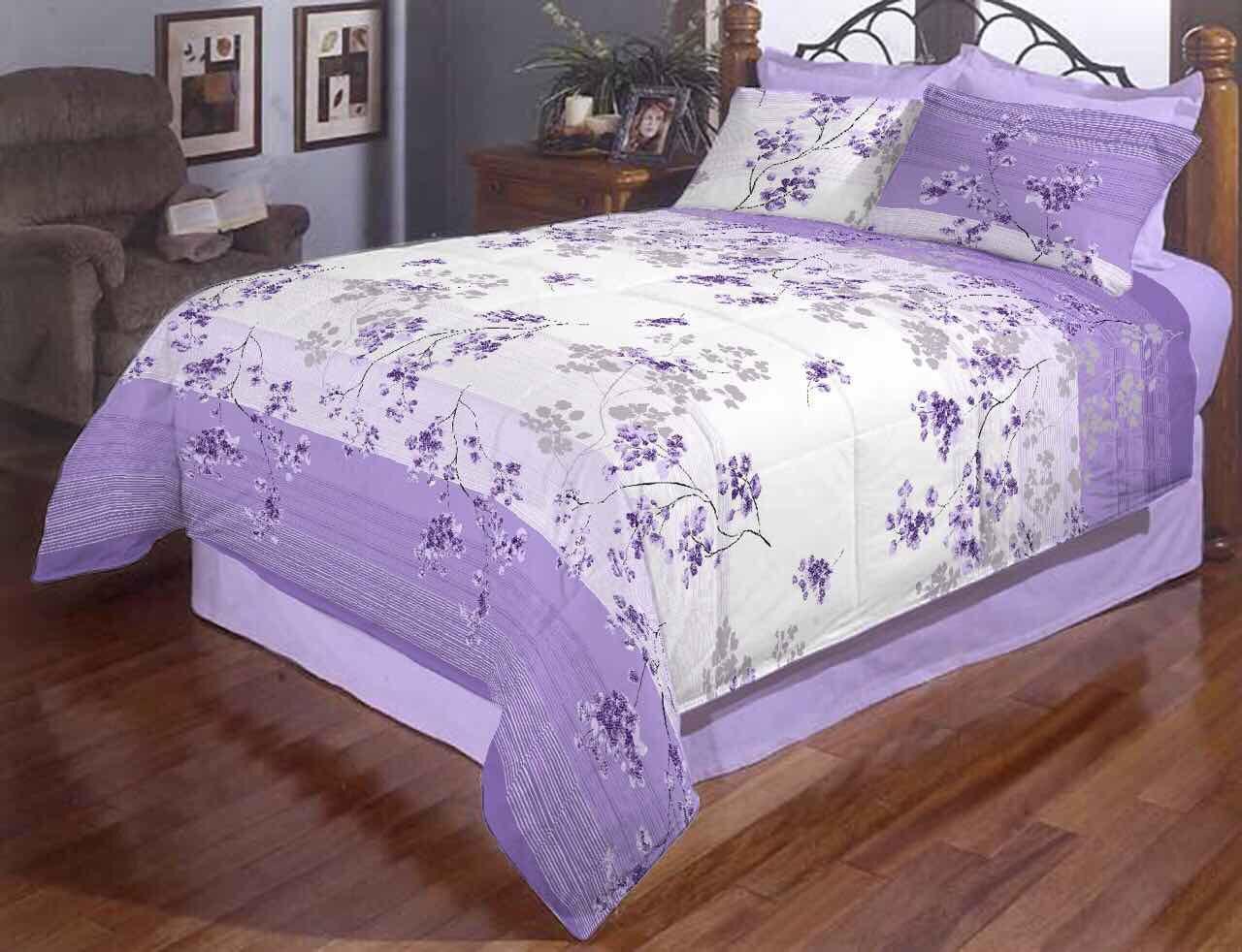 Сиреневый цвет полуторное постельное белье Gold