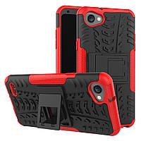 Чехол накладка для LG Q6 M700 противоударный с подставкой, красный