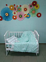 """Детское постельное белье 5 в 1 """"Мятная конфетка"""", (резинка, молния, 110х140)"""