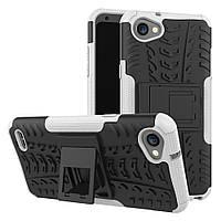 Чехол накладка для LG Q6 M700 противоударный с подставкой, белый
