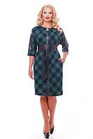 Женское красивое платье Кэтлин, цвет зеленый клетка размер 52-58 / большие размеры