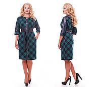 Женское красивое платье Кэтлин, цвет зеленый клетка размер 52-58 / большие размеры , фото 5