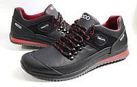 Кроссовки  кожаные  мужские Ecco model E21 чёрные с красным ! , пр-во ПОЛЬША