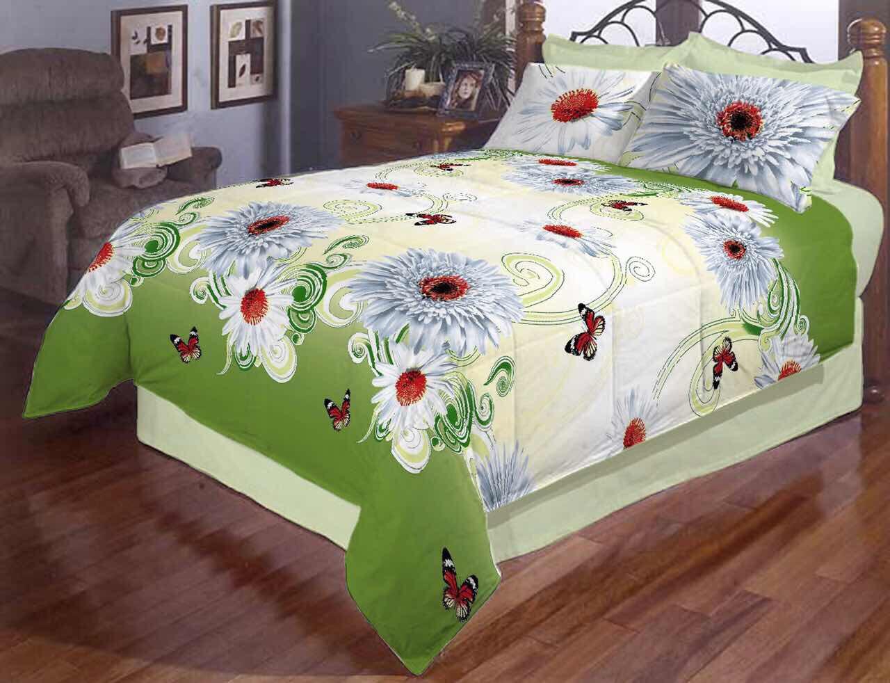 Белые хризантемы полуторное постельное белье Gold
