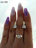 Кольцо серебряное с золотыми накладками 008 с цирконами