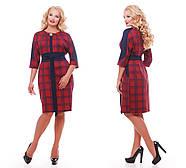 Женское красивое платье Кэтлин, цвет красная клетка размер 52-58 / большие размеры , фото 4