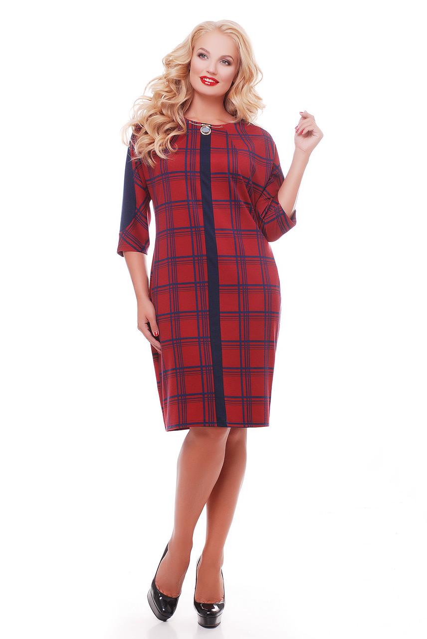 Женское красивое платье Кэтлин, цвет красная клетка размер 52-58 / большие размеры