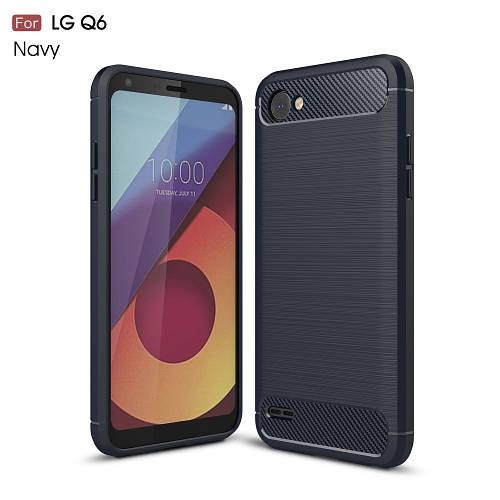 Чехол накладка для LG Q6 M700 силиконовый, Carbon Fiber, темно-синий