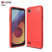 Чехол накладка для LG Q6 M700 силиконовый, Carbon Fiber, красный
