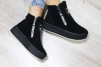 Демисезонные замшевые ботинки на молнии
