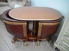 """Комплект 2 кресла и стол """"Тет-а-Тет"""" в коже"""