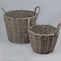 Кашпо садовые плетенное из лозы большие набор 2шт