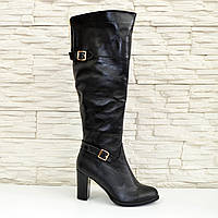 Женские зимние кожаные сапоги на высоком каблуке. 38 размер