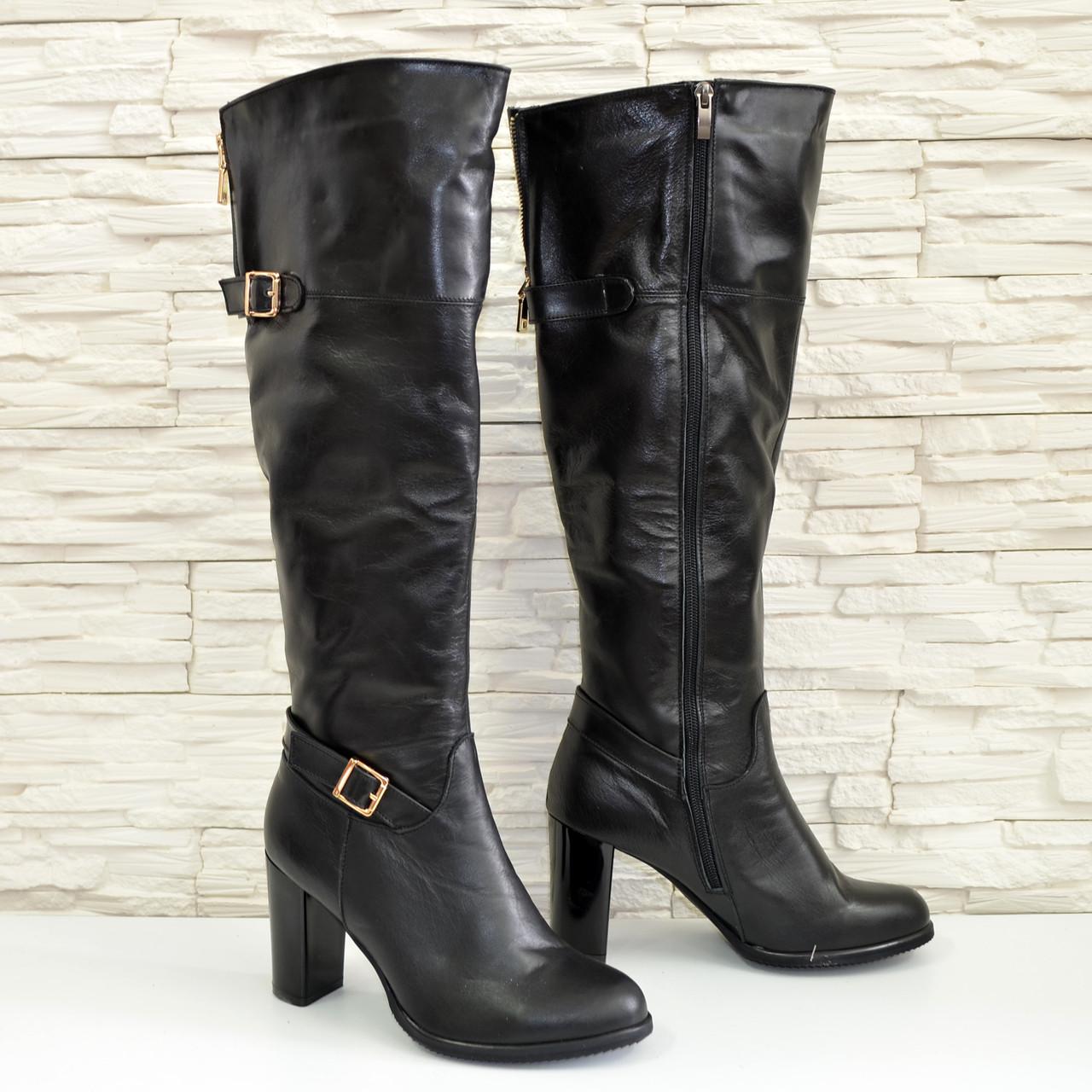 ad4af7aae5f6 Женские зимние кожаные сапоги на высоком каблуке. 38 размер