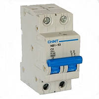 Автоматический выключатель Chint NB1-63 2P 6kA C 2A 179659