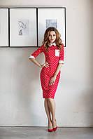 """Облегающее трикотажное миди-платье """"Fashion"""" с контрастным воротничком и манжетами (2 цвета)"""