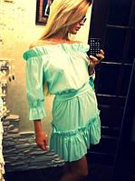 Платье короткое на плечах из хлопка со сборками ментол