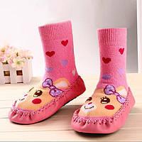 Махровые носочки с противоскользящей подошвой для девочек, р. 12 см по подошве