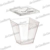 Прозрачный стакан с ложкой и крышкой «Cubini» (210 мл)
