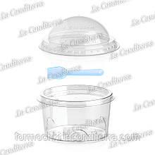 Пластиковий стакан з ложкою і кришками «Fly» 449+449CB+122700+701-BB (200 мл)