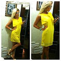 Платье летнее короткое штапель, без рукавов желтое!