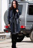 Классический черный женский кардиган с ставками с кожи с поясом