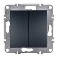 Выключатель двухклавишный самозажимний ASFORA антрацит EPH0300171 Schneider Electric