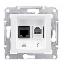 Розетка компьютерная + телефонная SEDNA RJ45 cat.5e UTP + RJ11 неэкранированная белая SDN5100121 Schneider Electric