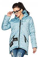 Голубая женская стильная куртка-парка с капюшоном сезон весна-осень.  Арт-2360/61