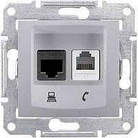 Розетка компьютерная + телефонная SEDNA RJ45 cat.5e UTP + RJ11 неэкранированная алюминий SDN5100160 Schneider Electric