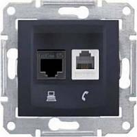 Розетка компьютерная + телефонная SEDNA RJ45 cat.5e UTP + RJ11 неэкранированная графит SDN5100170 Schneider Electric