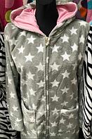 Молодежный велюровый халат на молнии, расцветки в ассортименте